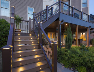 New deck with lighting up stairs